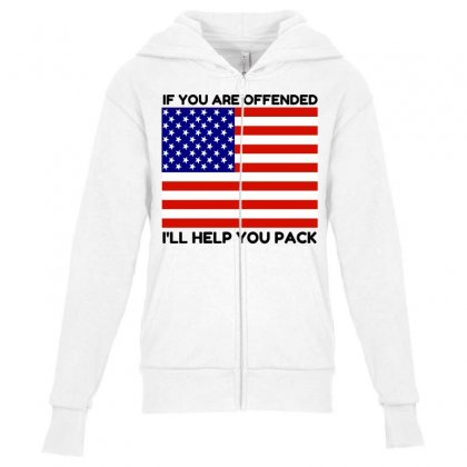 Offended Help You Pack  Usa Flag Youth Zipper Hoodie Designed By Perfect Designers