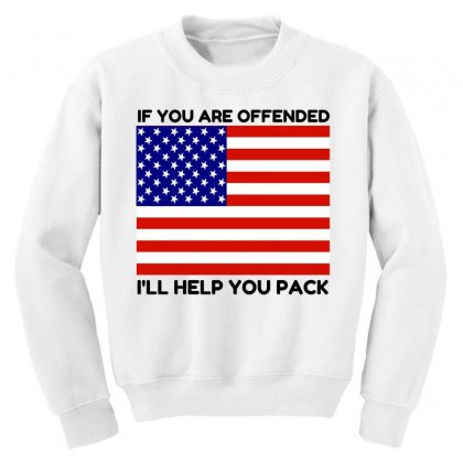 Offended Help You Pack  Usa Flag Youth Sweatshirt Designed By Perfect Designers