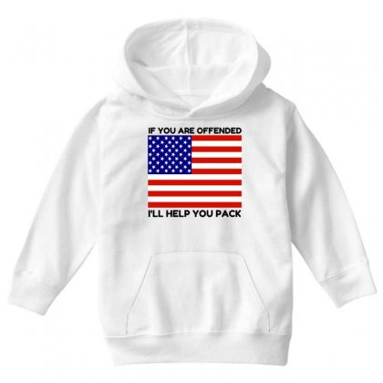 Offended Help You Pack  Usa Flag Youth Hoodie Designed By Perfect Designers