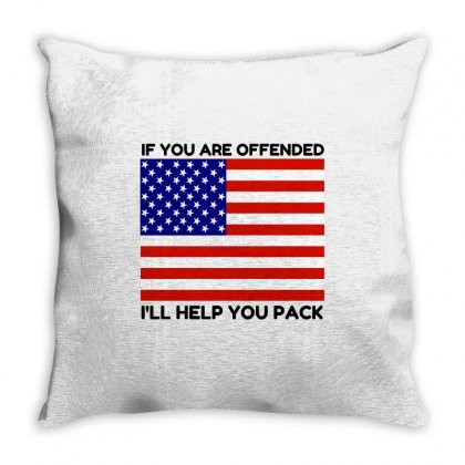 Offended Help You Pack  Usa Flag Throw Pillow Designed By Perfect Designers