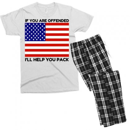 Offended Help You Pack  Usa Flag Men's T-shirt Pajama Set Designed By Perfect Designers