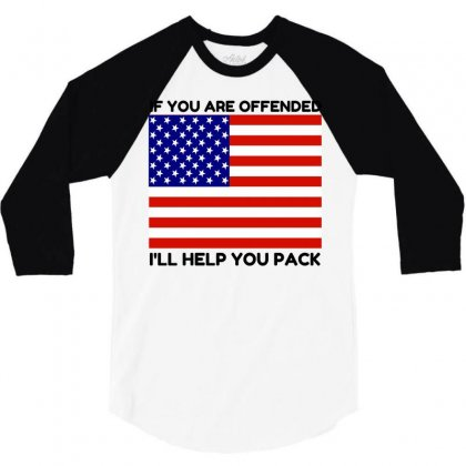Offended Help You Pack  Usa Flag 3/4 Sleeve Shirt Designed By Perfect Designers