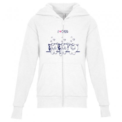 I Love Cats Youth Zipper Hoodie Designed By Pet Shop