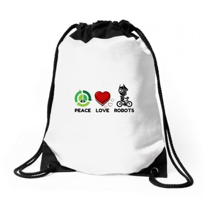 Peace Love Robots Drawstring Bags Designed By Perfect Designers