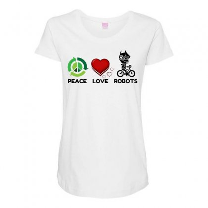 Peace Love Robots Maternity Scoop Neck T-shirt Designed By Perfect Designers
