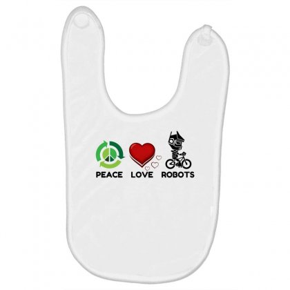 Peace Love Robots Baby Bibs Designed By Perfect Designers