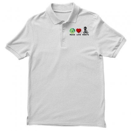 Peace Love Robots Polo Shirt Designed By Perfect Designers