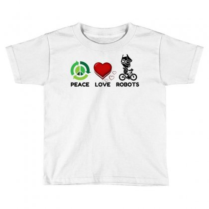 Peace Love Robots Toddler T-shirt Designed By Perfect Designers