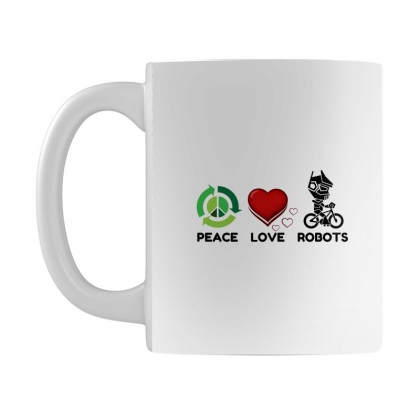 Peace Love Robots Mug Designed By Perfect Designers