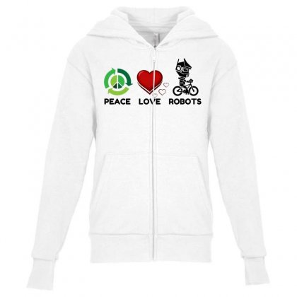 Peace Love Robots Youth Zipper Hoodie Designed By Perfect Designers