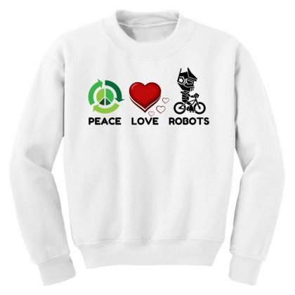 Peace Love Robots Youth Sweatshirt Designed By Perfect Designers