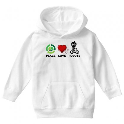 Peace Love Robots Youth Hoodie Designed By Perfect Designers