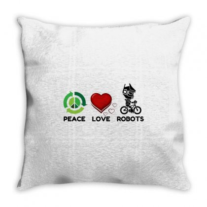 Peace Love Robots Throw Pillow Designed By Perfect Designers
