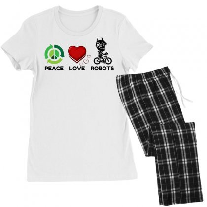 Peace Love Robots Women's Pajamas Set Designed By Perfect Designers