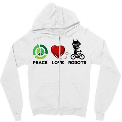 Peace Love Robots Zipper Hoodie Designed By Perfect Designers