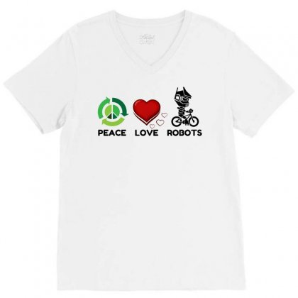Peace Love Robots V-neck Tee Designed By Perfect Designers