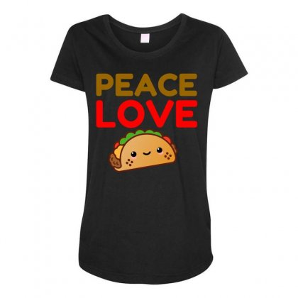 Peace Love Taco Maternity Scoop Neck T-shirt Designed By Perfect Designers