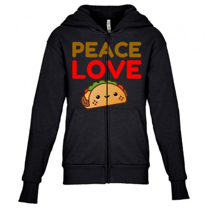 Peace Love Taco Youth Zipper Hoodie Designed By Perfect Designers