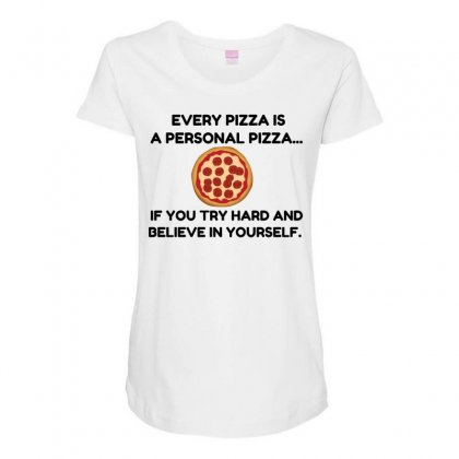 Personal Pizza Maternity Scoop Neck T-shirt Designed By Perfect Designers
