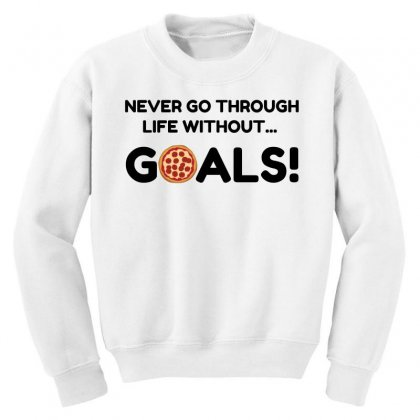 Pizza Goals Youth Sweatshirt Designed By Perfect Designers