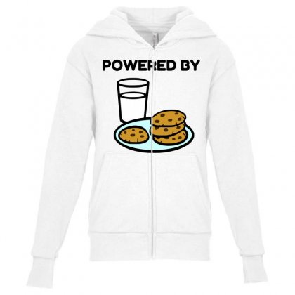 Powered By Cookies Youth Zipper Hoodie Designed By Perfect Designers