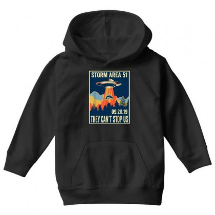 Storm Area 51 Shirt Alien Ufo They Can't Stop Us Youth Hoodie Designed By Tran Ngoc