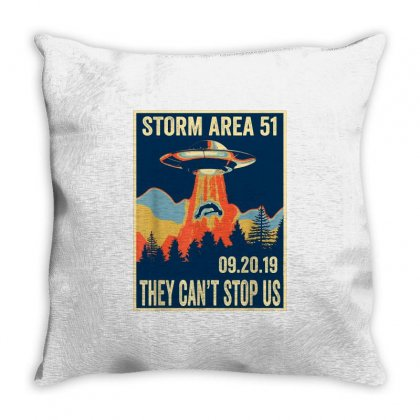 Storm Area 51 Shirt Alien Ufo They Can't Stop Us Throw Pillow Designed By Tran Ngoc