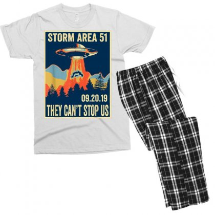 Storm Area 51 Shirt Alien Ufo They Can't Stop Us Men's T-shirt Pajama Set Designed By Tran Ngoc