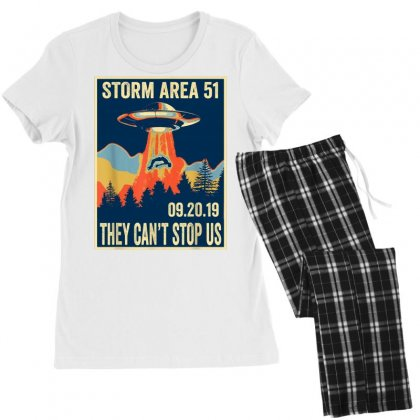 Storm Area 51 Shirt Alien Ufo They Can't Stop Us Women's Pajamas Set Designed By Tran Ngoc
