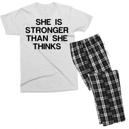 She Is Stronger Than She Thinks Men's T-shirt Pajama Set Designed By Perfect Designers