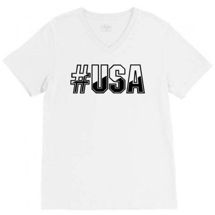 Usa V-neck Tee Designed By Perfect Designers
