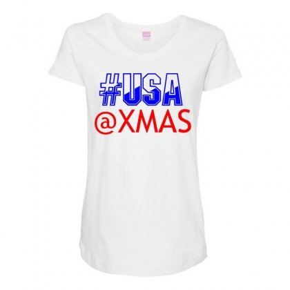 Usa At Xmass Maternity Scoop Neck T-shirt Designed By Perfect Designers