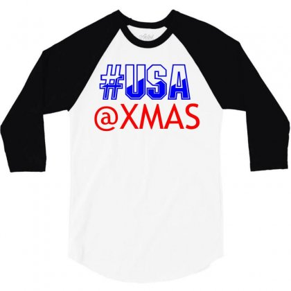 Usa At Xmass 3/4 Sleeve Shirt Designed By Perfect Designers
