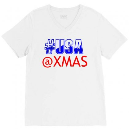 Usa At Xmass V-neck Tee Designed By Perfect Designers