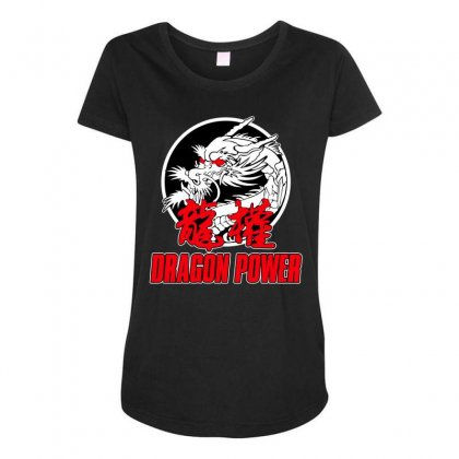 Dragon Power Maternity Scoop Neck T-shirt Designed By Broliant