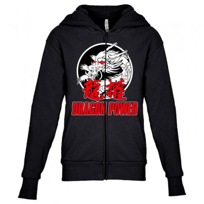 Dragon Power Youth Zipper Hoodie Designed By Broliant