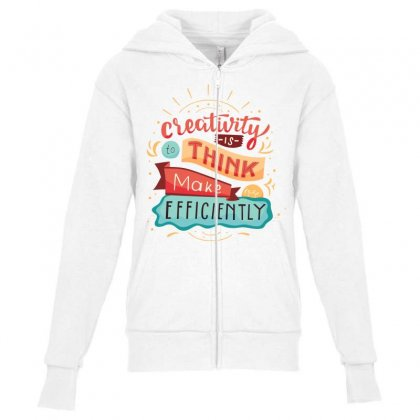 Creativity Is Think Make Efficient Youth Zipper Hoodie Designed By Tudtoojung