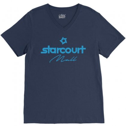 Starcourt Mall Solid V-neck Tee Designed By Toweroflandrose