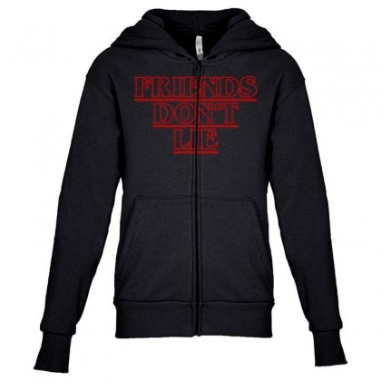 Friends Dont Lie Outline Youth Zipper Hoodie Designed By Toweroflandrose