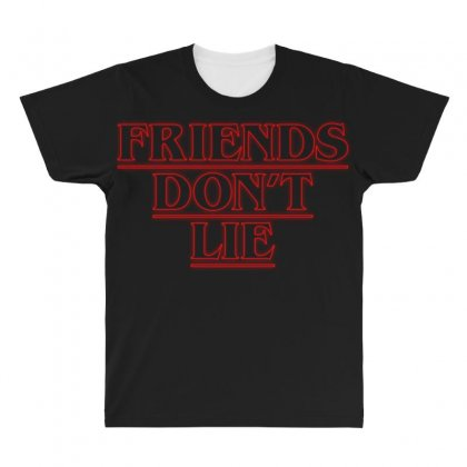 Friends Dont Lie Outline All Over Men's T-shirt Designed By Toweroflandrose