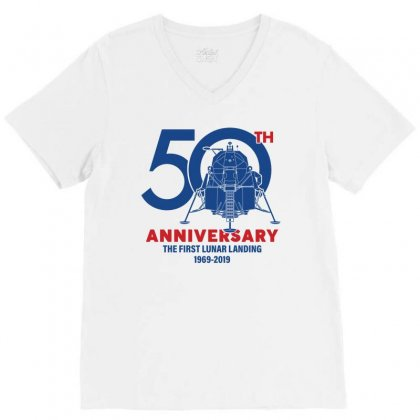 50th Anniversary The First Lunar Landing V-neck Tee Designed By Toweroflandrose
