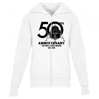 50th Anniversary The First Lunar Landing Youth Zipper Hoodie Designed By Toweroflandrose