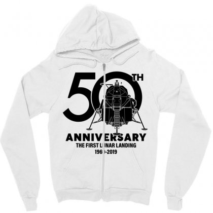 50th Anniversary The First Lunar Landing Zipper Hoodie Designed By Toweroflandrose