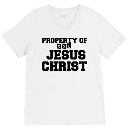 Property Of Jesus Christ V-neck Tee Designed By Perfect Designers