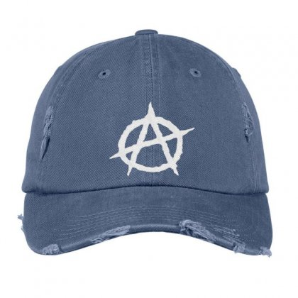 Anarchy Embroidery Embroidered Hat Distressed Cap