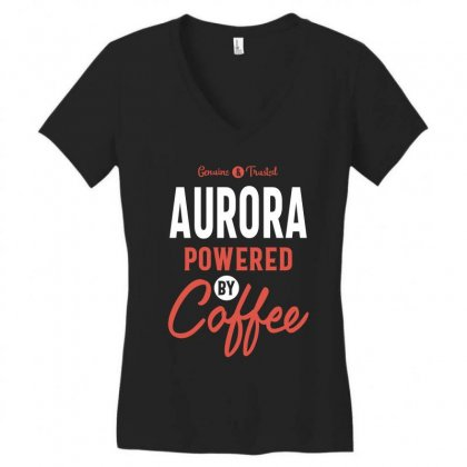 Aurora Powered By Coffee Women's V-neck T-shirt Designed By Cidolopez