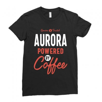 Aurora Powered By Coffee Ladies Fitted T-shirt Designed By Cidolopez