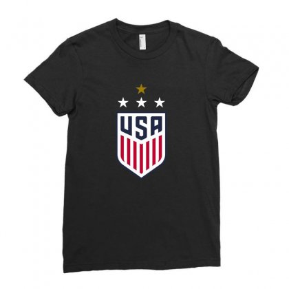 Uswnt Crest 4 Stars Ladies Fitted T-shirt Designed By Honeysuckle