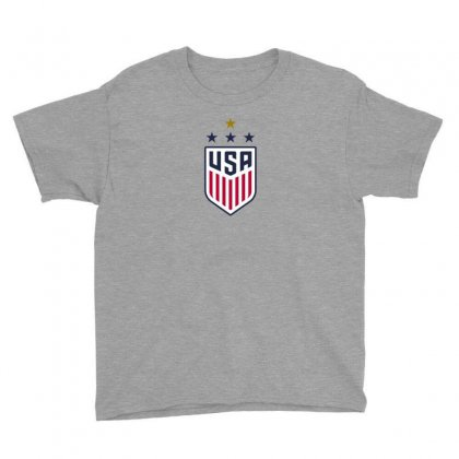 Uswnt Crest 4 Stars For Light Youth Tee Designed By Honeysuckle