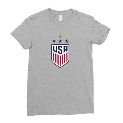 Uswnt Crest 4 Stars For Light Ladies Fitted T-shirt Designed By Honeysuckle
